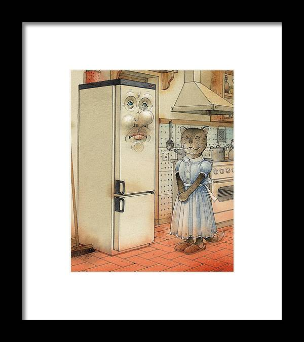 Cat Kitchen Love Framed Print featuring the painting Love Story by Kestutis Kasparavicius