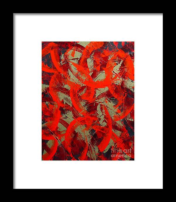 Abstract Framed Print featuring the painting Love Trails by Dean Triolo