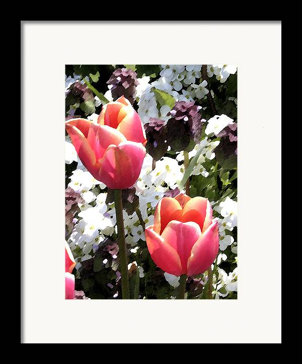Tulips Framed Print featuring the digital art Love Tulips by Mary Gaines