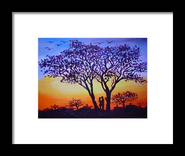 Love Framed Print featuring the painting Love Under The Tree by Min Wang