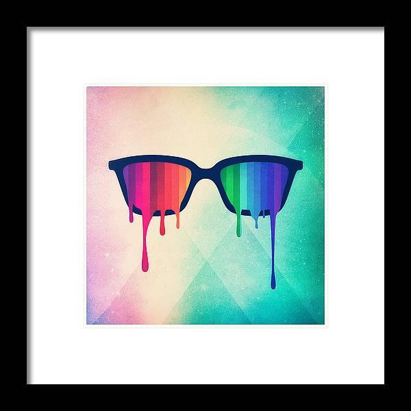 Nerd Framed Print featuring the digital art Love Wins Rainbow - Spectrum Pride Hipster Nerd Glasses by Philipp Rietz