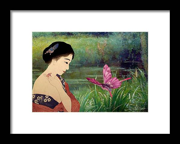 Japanese Framed Print featuring the digital art Loved By Butterflies by Laura Botsford