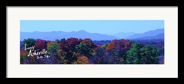 Asheville Nc North Carolina Biltmore House And Gardens Largest House In America Blue Ridge Mountains Grove Park Inn Tourist Tourists Vacation Bed And Breakfast Attractions Music Art Culture Bele Chere Goombay River Arts District French Broad River National Park Parks President Barack Obama First Lady Michelle Wilbur Ray Mapp Fall Leaves Range Christmas Xmas Holiday Holidays New Year Framed Print featuring the photograph Lovely Asheville Fall Mountains by Ray Mapp