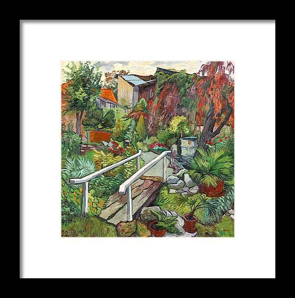 Landscape Framed Print featuring the painting Lovely Flower Garden by Vitali Komarov