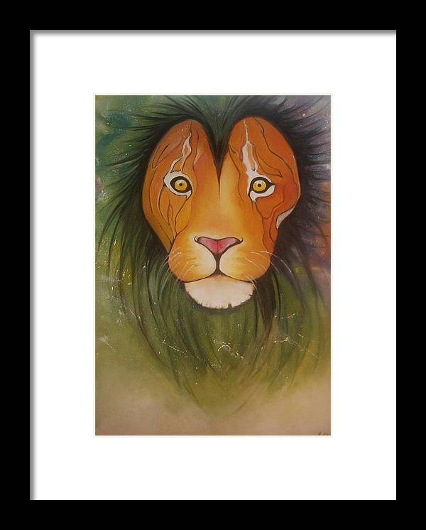 #lion #oilpainting #animal #colorful Framed Print featuring the painting LovelyLion by Anne Sue