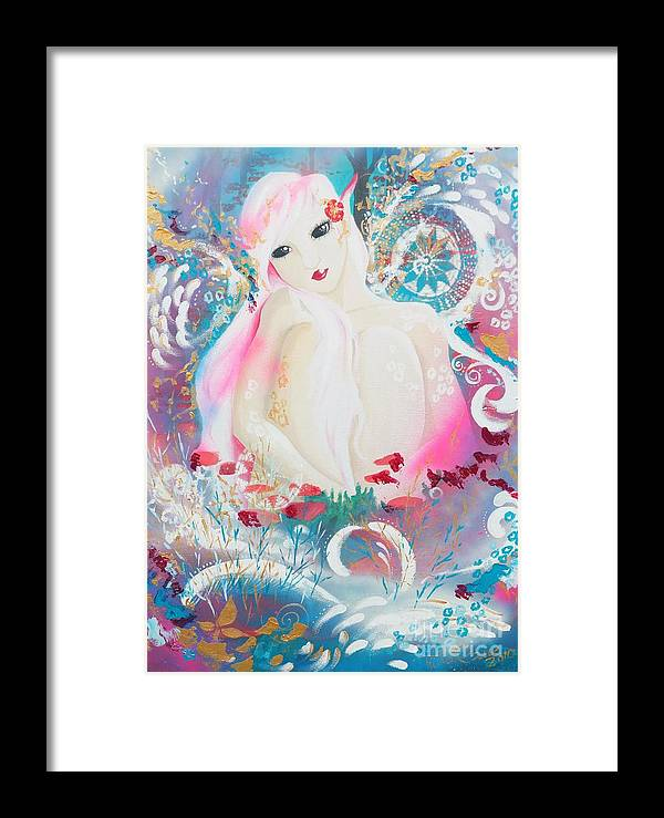 Fantasy Framed Print featuring the painting Lovemist by Tiina Rauk