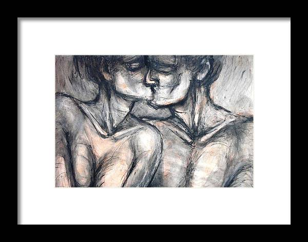 Original Framed Print featuring the painting Lovers - Kiss by Carmen Tyrrell