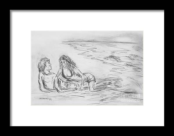 Lovers Man Woman Love Together You And Me On The Beach Lovers On The Beach Still Life  Framed Print featuring the drawing lovers I by Miroslaw Chelchowski