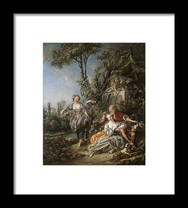 Fran�ois Boucher Framed Print featuring the painting Lovers In A Park by Franois Boucher