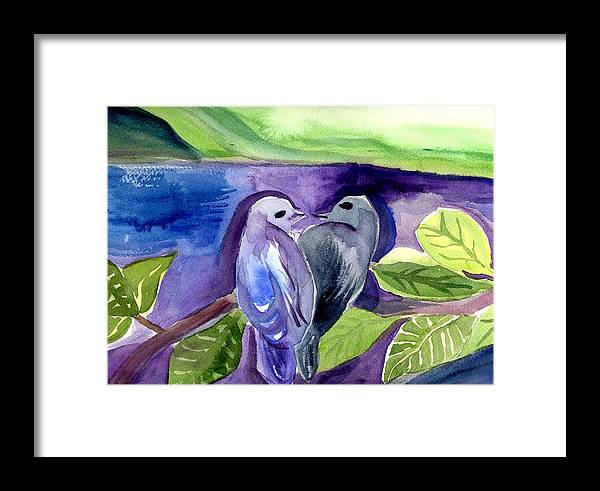 Birds Framed Print featuring the painting Lovers by Janet Doggett