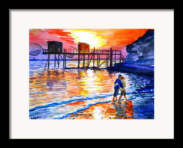 Seascape Framed Print featuring the painting Lovers On Strand by Aymeric NOA