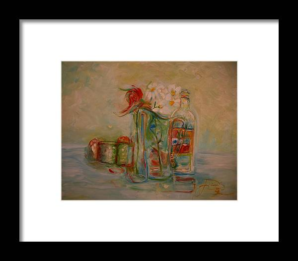 Rose Framed Print featuring the painting Lovers Picnic by Jack Diamond