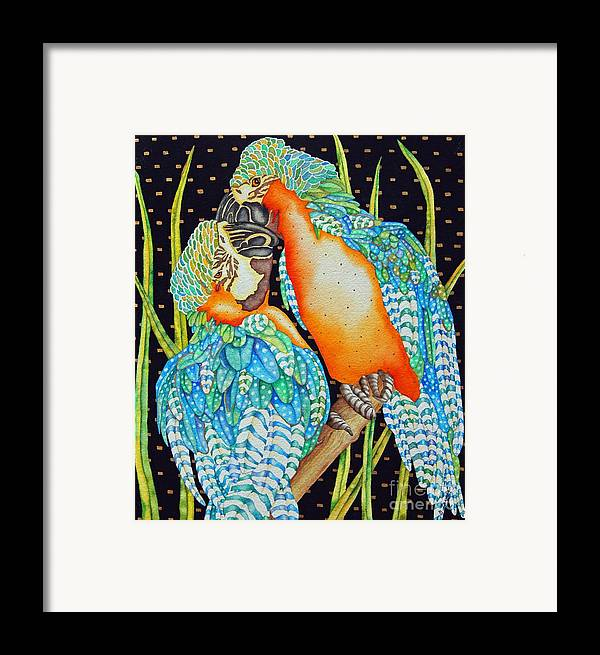Birds Framed Print featuring the painting Loving Birds by Gail Zavala