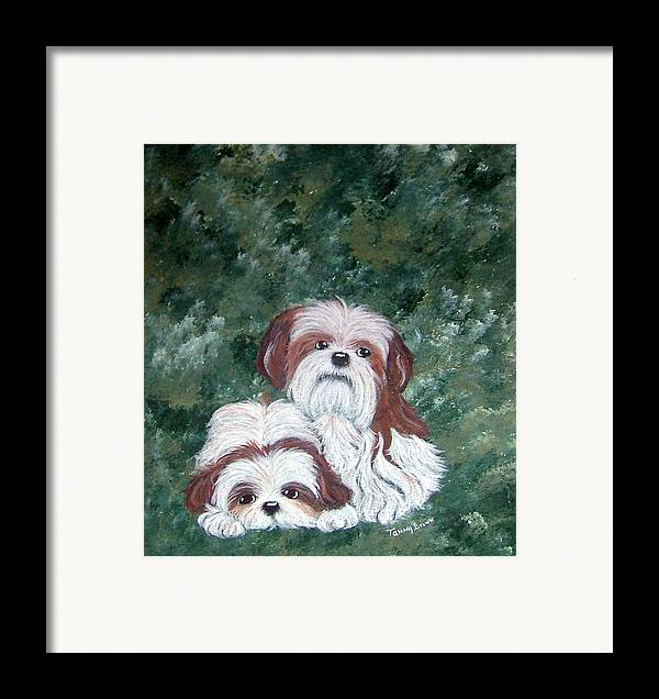 Shih Tzu Framed Print featuring the painting Loving Shih Tzu by Tammy Brown