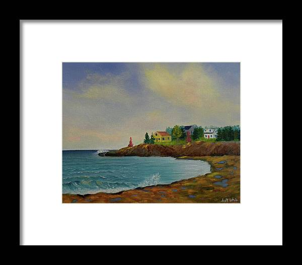 Beach Seascape Landscape Ocean Sea Waves Houses Rocks Cove Artist Scott White Framed Print featuring the painting Low Tide by Scott W White