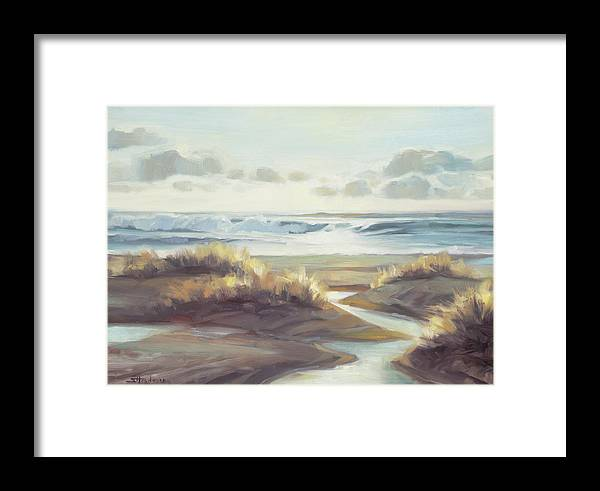 Ocean Framed Print featuring the painting Low Tide by Steve Henderson