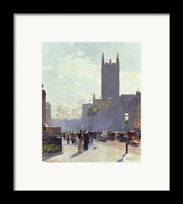 Lower Fifth Avenue Framed Print featuring the painting Lower Fifth Avenue by Childe Hassam