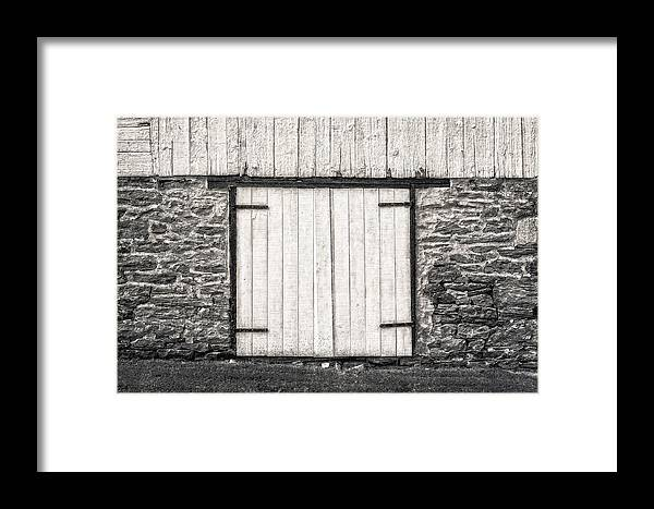 Frank J Benz Framed Print featuring the photograph Lower Level Door To An 1803 Amish Corn Barn - 1803cornbarnblwh172868 by Frank J Benz