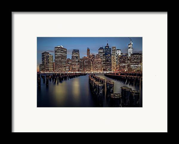 America Framed Print featuring the photograph Lower Manhattan Skyline by Eduard Moldoveanu