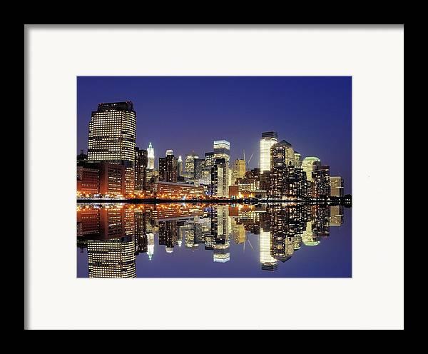 Horizontal Framed Print featuring the photograph Lower Manhattan Skyline by Sean Pavone