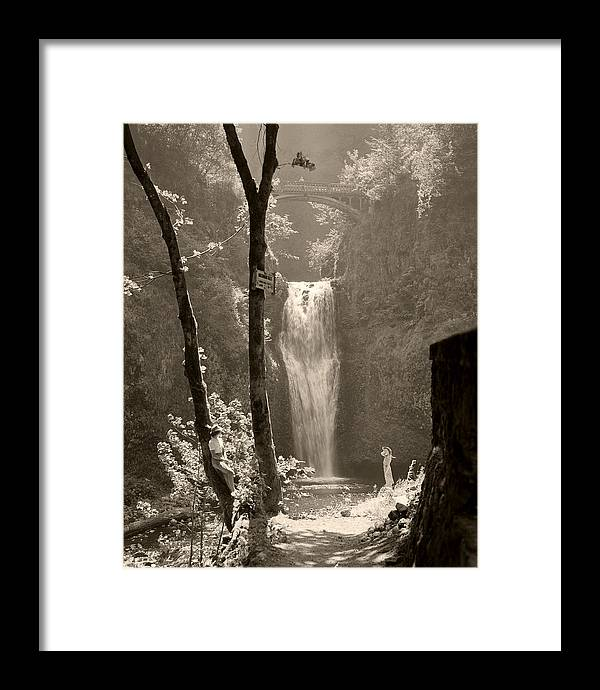 Multnomah Falls Framed Print featuring the photograph Lower Multnomah Falls by Unknown