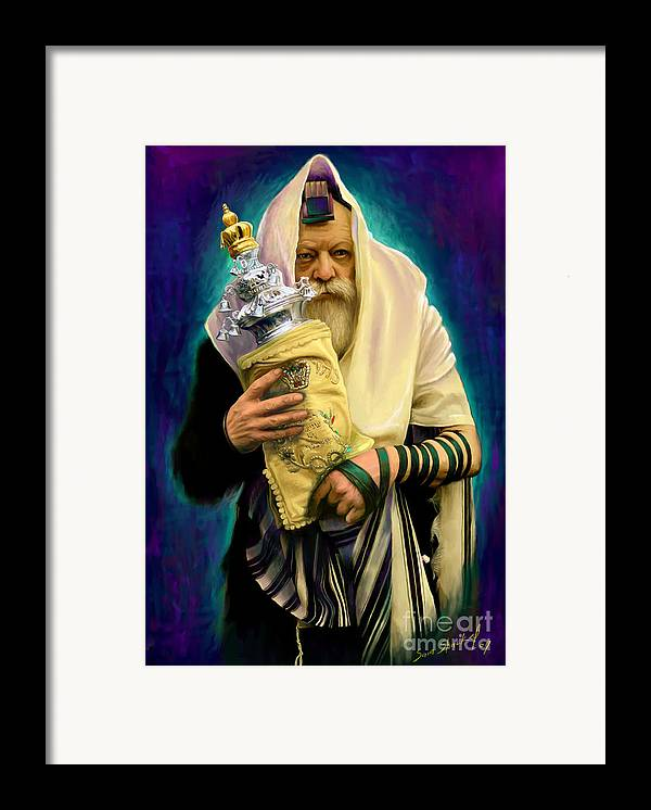 Lubavitcher Framed Print featuring the painting Lubavitcher Rebbe With Torah by Sam Shacked