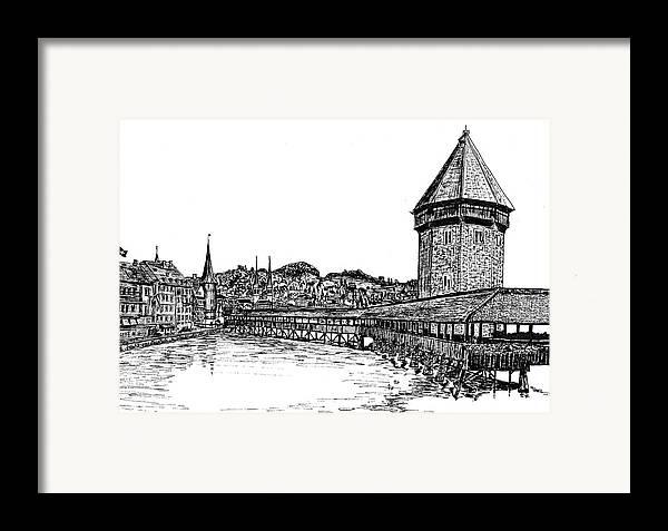 Lucerne Framed Print featuring the drawing Lucerne by Frank SantAgata