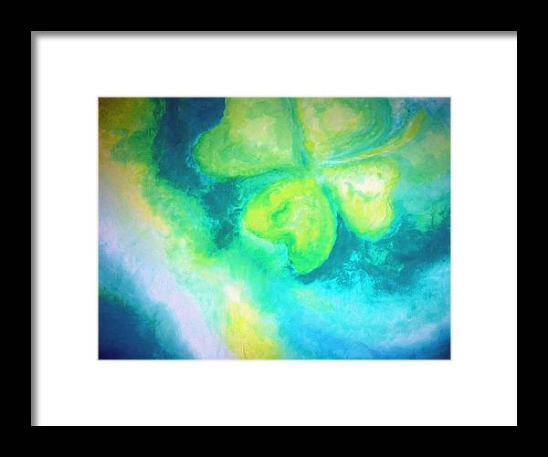 Four Leaf Clover Framed Print featuring the painting Luck Is In The Air by Katerina Wagner