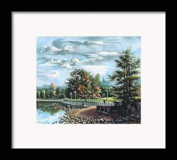 Landscape Framed Print featuring the painting Lucky Day Rocky Point Park by Dumitru Barliga