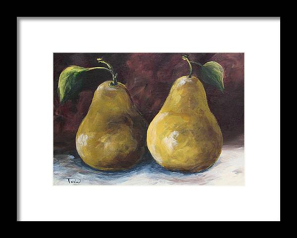 Pear Framed Print featuring the painting Lucky Pears by Torrie Smiley