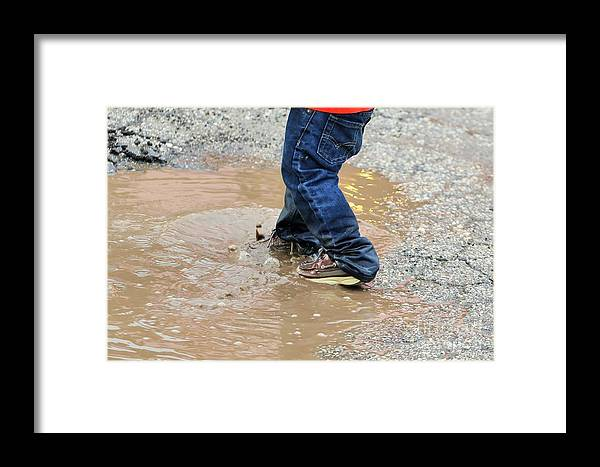 Landscape.hill Country.blue Jeans .kids Shoes.water Hole.water Puddle.sneakers.tote Bag.print.acrylic Framed Print featuring the photograph Lucky Puddle by Jeff Downs