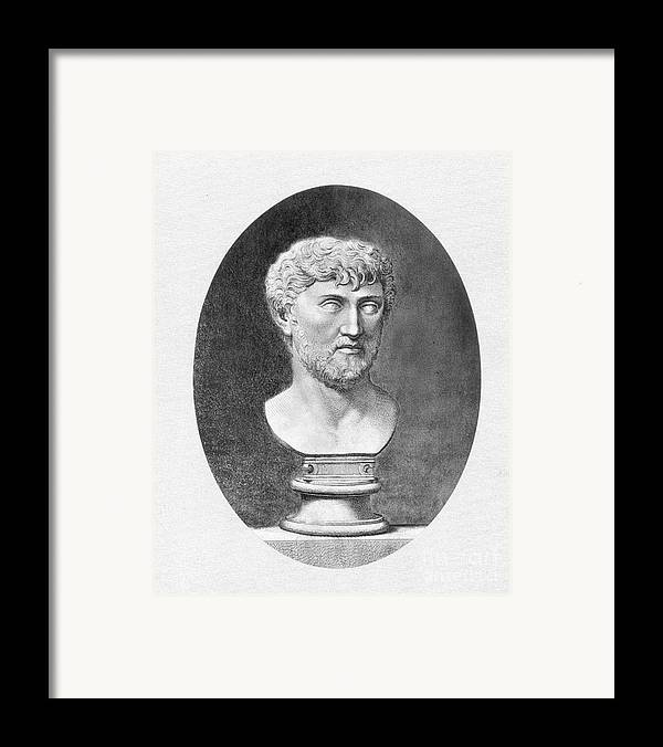 1st Century B.c. Framed Print featuring the photograph Lucretius (96 B.c.?-55 B.c.) by Granger