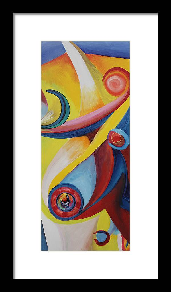 Abstract Framed Print featuring the painting Lucy In The Sky With Angels by Peter Shor