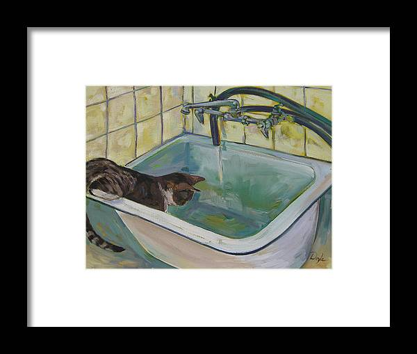 Cats Framed Print featuring the painting Lucy Loves Water by Karen Doyle