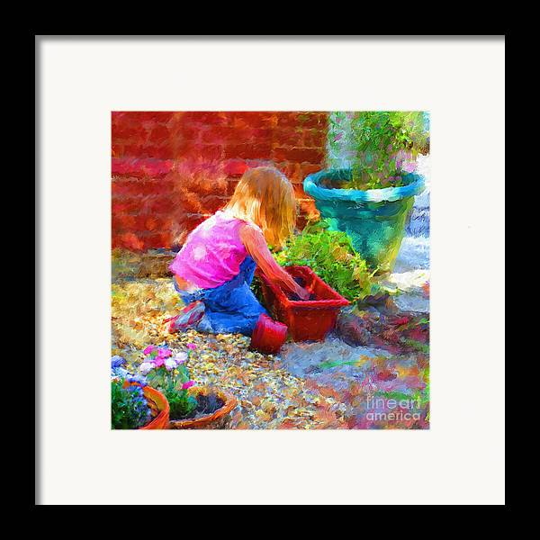 English Framed Print featuring the mixed media Lucys English Garden by Marilyn Sholin