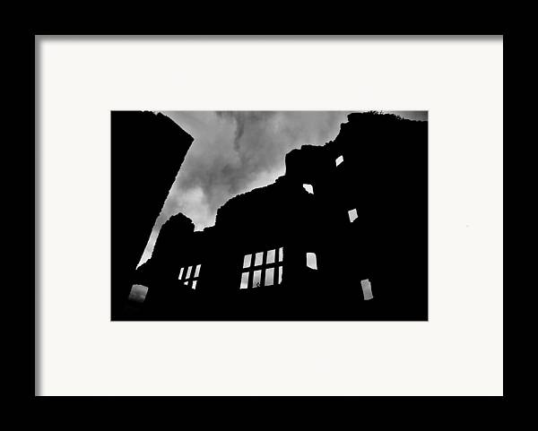 Castle Framed Print featuring the photograph Ludlow Storm Threatening Skies Over The Ruins Of A Castle Spooky Halloween by Andy Smy