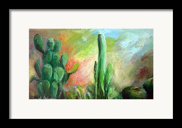 Floral Painting Framed Print featuring the painting Lumiere De Desert by Muriel Dolemieux