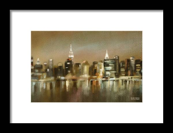 New York Framed Print featuring the painting Luminous New York Skyline by Beverly Brown