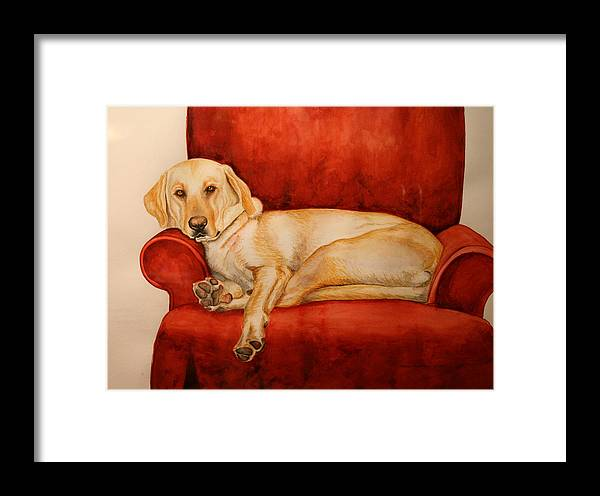 Yellow Lab Framed Print featuring the painting Luna by Ayal Armon
