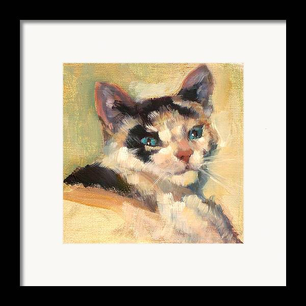Cat Framed Print featuring the painting Luna by Merle Keller