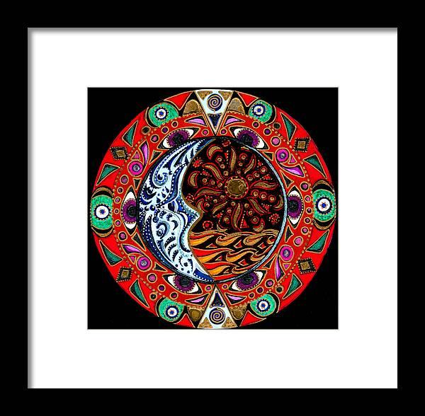 Mandala Framed Print featuring the painting Luna Sea by Pam Ellis