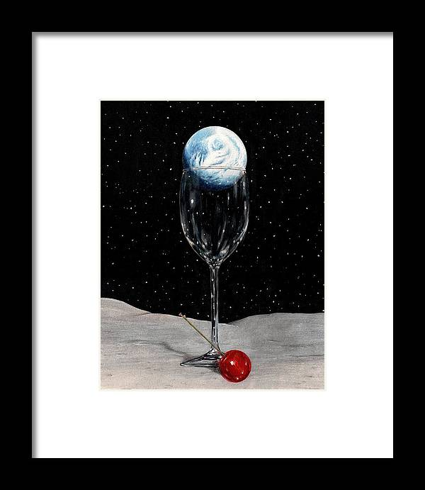 Moon Earth Space Cocktail Glass Art Bruce Lennon Art Framed Print featuring the painting Lunar Cocktail by Bruce Lennon