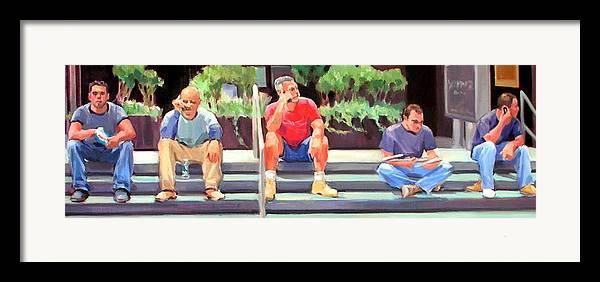Figurative Framed Print featuring the painting Lunch Break - Men At Work Series by Merle Keller