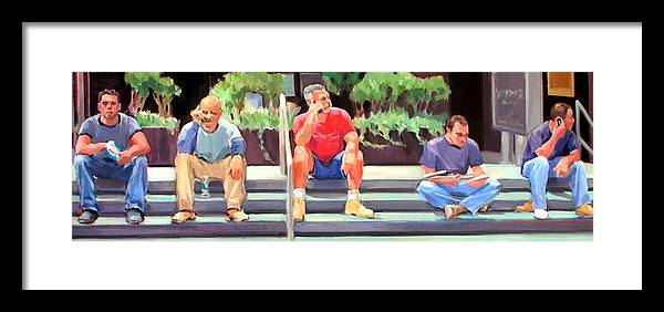 Figurative Framed Print featuring the painting Lunch Break - Men At Work Series by Merle Keller