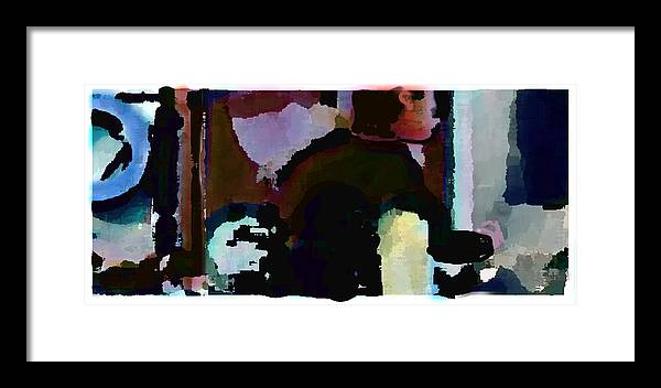 Abstract Expressionism Framed Print featuring the painting Lunch Counter by Steve Karol
