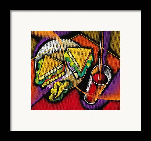 Bowl Close Up Color Image Concept Convenience Dinner Food And Drink Fork Grape Hamburger Illustration Illustration And Painting Lunch Macaroni Macaroni And Cheese Nobody Sandwich Square Image Still Life Variety Assortment Bread Close-up Color Colour Cutlery Drawing Food Fruit Ground Beef Meal Mince Pasta Square Still-life Abstract Painting Decorative Art Framed Print featuring the painting Lunch by Leon Zernitsky