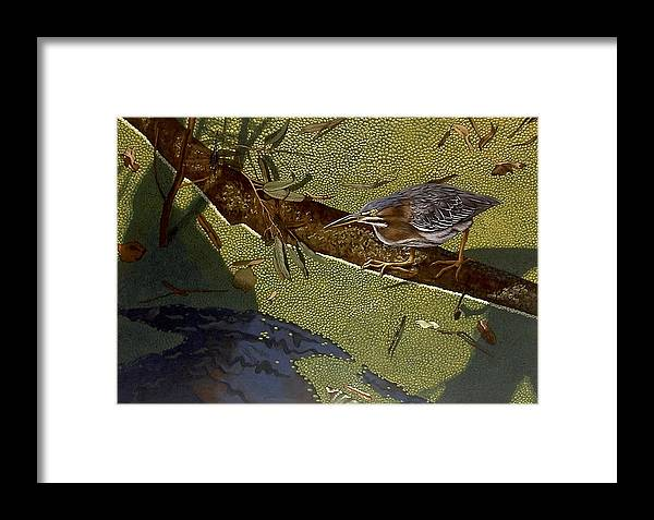 Landscape Framed Print featuring the painting Lunch Time by Peter Muzyka