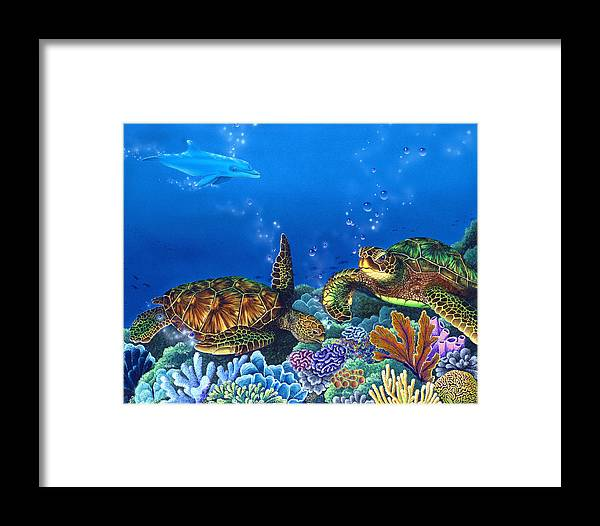Turtles Framed Print featuring the painting Lunchtime by Angie Hamlin