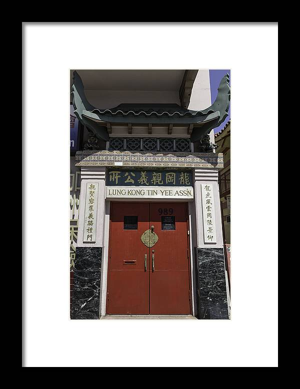 Lung Kong Tin Yee Association Framed Print featuring the photograph Lung Kong Tin Yee Association Red Doors by Teresa Mucha
