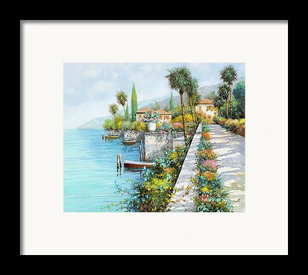 Lake Framed Print featuring the painting Lungolago by Guido Borelli